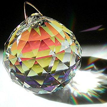 Faceted prism with light shining through